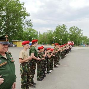 Общее построение участников второго слета Юнармии в Коркинском районе